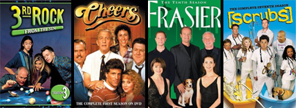 cheers, frasier, scrubs, 3rd rock